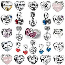 New Special Words Love Shape Gift Bead 925 Silver Charms For 3mm Bracelet Bangle