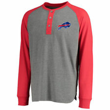 Buffalo Bills Pro Line Lincoln Long Sleeve Henley Shirt - Gray/Red - NFL