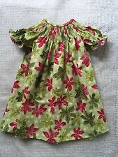READY TO SMOCK FLOWER CHRISTMAS PRINT BISHOP DRESS SIZES 3MOS TO 4T