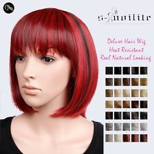 USA Seller BOB HAIRCUT FULL WIG SHORT HAIR HEAT RESISTANT WIGS TWO TONE 15 COLOR