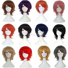 UK Fast Shipping Unisex Short Layered Hair Full Wigs Party Cosplay Wig 19 Color