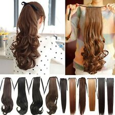 UK Seller Clip In Tie Ponytail Hair extensions Straight Wavy Curly Extension pt8