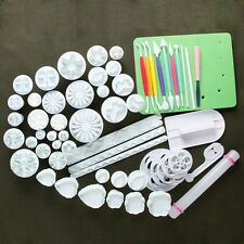 Fondant Sugarcraft Icing Flower Snowflake Cutters Rolling Pin Smoother Tools Set