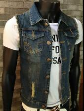 Fashion New Men Denim Vest Jeans Vests Slim Fit Mens Sleeveless Plus Jacket
