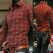 Fashion Mens Luxury Slim Fitted Stylish Plaid Casual Shirts Long Sleeve Tops