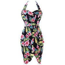 Womens Retro Vintage 1950s Tropical Floral Summer Holiday Sarong Sun Dress UK