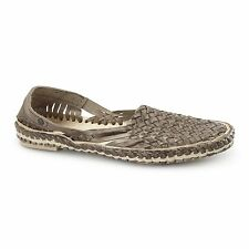 Base London AZTEC WEAVE Mens Leather Woven Comfort Slip On Summer Sandals Brown