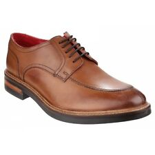 Base London BROOKSBY Mens Premium Leather Lace Up Traditional Derby Shoes Tan