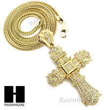 "Men Iced Out THE WEEKEND Cross Pendant w/ 4mm 36"" Franco Chain Necklace FS022G"
