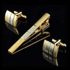Men Classical Stripe Golden Square Wedding Party Cufflinks Cuff Links&Tie Clip W