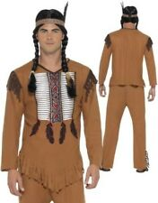 Native Indian Costume Mens Western Fancy Dress costume Sizes S-XL