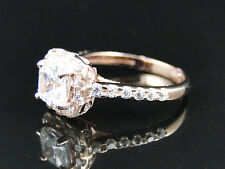 Ladies 925 Silver Solitaire Lab Diamond Accent Bridal Ring in Rose Gold Finish