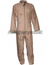 USGI CWU-27/P Fire Resistant NOMEX FLIGHT SUIT Tan Flyer Coveralls Flightsuit VG
