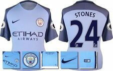 *16 / 17 - NIKE ; MAN CITY HOME SHIRT SS + PATCHES / STONES 24 = KIDS SIZE*