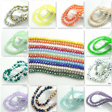 Wholesale 100pcs Rondelle Faceted Crystal Glass Loose Spacer Beads 6mm 190 Color
