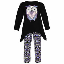 AnnLoren Girls Aztec Owl High low Tunic and leggings Outfit 12/18 mo - 9/10