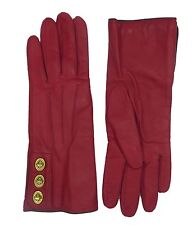 COACH Leather Wrist Gloves Womens Cherry Red Cashmere Lined Turnlock NEW 82825