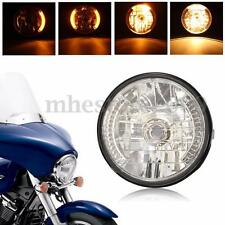 7'' Motorcycle Headlight Amber LED Turn Signal Indicators Light For Harley Honda