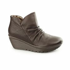Skechers PARALLEL-UNIVERSE Ladies Leather Wedge Heel Ankle Boots Chocolate Brown