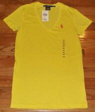 NEW NWT Polo Ralph Lauren Womens PONY LOGO V-Neck Yellow T-Shirt 100% Cotton *2B