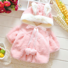 Kids Baby Girls Warm outerwear Hooded Coral Velvet coat Newborn jacket 2 Color