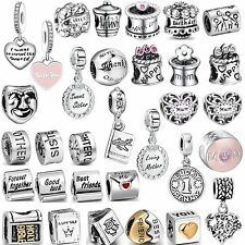 2017 Hot Sale Love Words Bead 925 Silver Charms Diy Fit Women 3mm Bracelet Chain