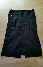 Long Black Cotton Skirt - Calf Length - Size 14