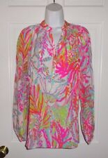 NWT LILLY PULITZER RESORT WHITE SCUBA TO CUBA SILK ELSA TOP BLOUSE XL