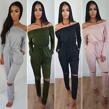 Womens Sexy Off Shoulder Long Pants Jumpsuit Lady Evening Party Playsuit Romper