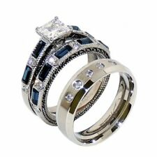 His and Hers Mens 5 Clear CZs Band Hers Blue Sapphire CZ Wedding 2 Rings Set