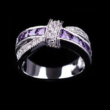 Hot Size 6-10 Jewelry White Gold Purple Amethyst Finger Ring Cross (Size: 6-10)