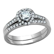 Womens Engagement Wedding Rings Heart Cut CZ Stainless Steel Size 5 -10