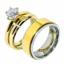 His Hers 3 PCS Round CZ Gold IP Stainless Steel Wedding Set /Mens Spinning Band