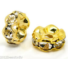 Wholesale Gold Plated Rondelles Spacer Beads 8mm Dia.