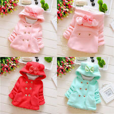 NWT kids baby girls Outerwear autum winter warm Button bowknot Hooded Coat