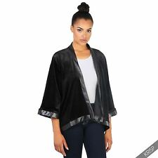 Womens Ladies Vintage Velvet Kimono Duster Coat Open Blazer Jacket Party Shrug