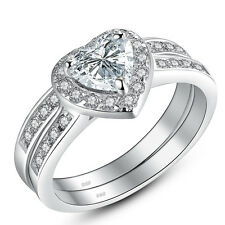 Women's Sterling Silver Wedding Ring Sets Engagement Heart Cut AAA CZ Size 5-10