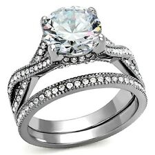 Womens Wedding Rings Stainless Steel 4.50 ct cz Bridal Engagement Set Size 5 -10