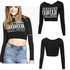 Autunm Fashion Sportswear Women's Letter Print Navel-baring Long Sleeve Tops