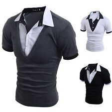 New Sports T Shirt Men's Short Sleeve T Shirt Slim Fit Cotton Casual Polo Tee