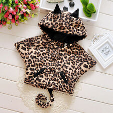 Baby Girls outerwear Leopard grain Hooded Cape coats Winter Kids Girl Clothes
