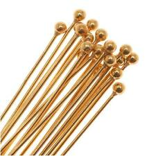 22K Gold Plated 2mm Ball Head Pins 22 Gauge 3 Inches/20