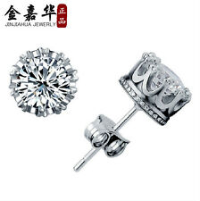1 pair Classical Lady's Silver Plated Crystal Crown Set Ear Stud Earrings Gift