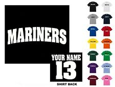 Mariners College Letters Baseball Custom T-shirt #214 - Free Shipping