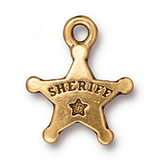 22K Gold Plated Pewter Western Sheriff Star Charm 18mm (1)