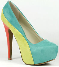 Sea Green Yellow Coral Round Toe High Stiletto Heel Platform Pump Qupid