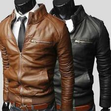 New Mens fashion jackets collar Slim motorcycle pu leather jacket coat outwear #