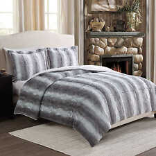 Super Soft Gray Chinchilla Faux Fur Reversible Comforter 3 Pc Set Queen or King