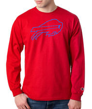 Buffalo Bills Logo Champion LONG SLEEVE T-Shirt Tagless Tee New Red