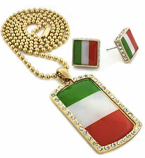 "Men Iced Out Italy Dog Tag Pendant 30"" Ball Chain Necklace & Earring Set S058"